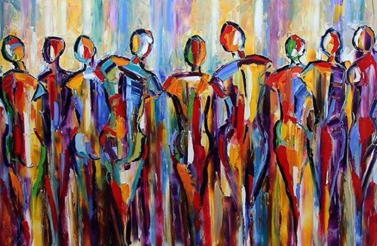 oil painting gathering good people are gathering figurative palette by texas artist laurie pace