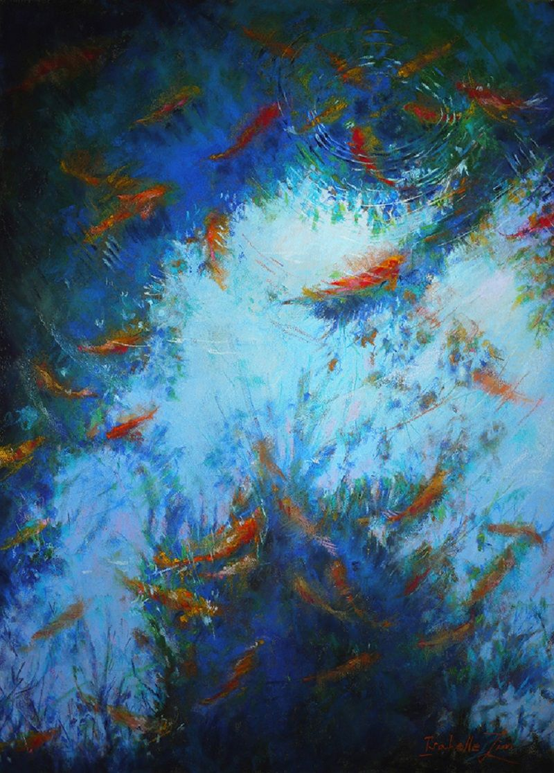 oil painting koi fish by isabelle v lim