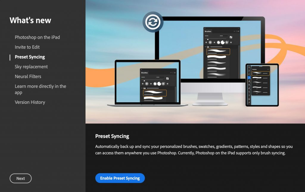 adobe new features preset syncing