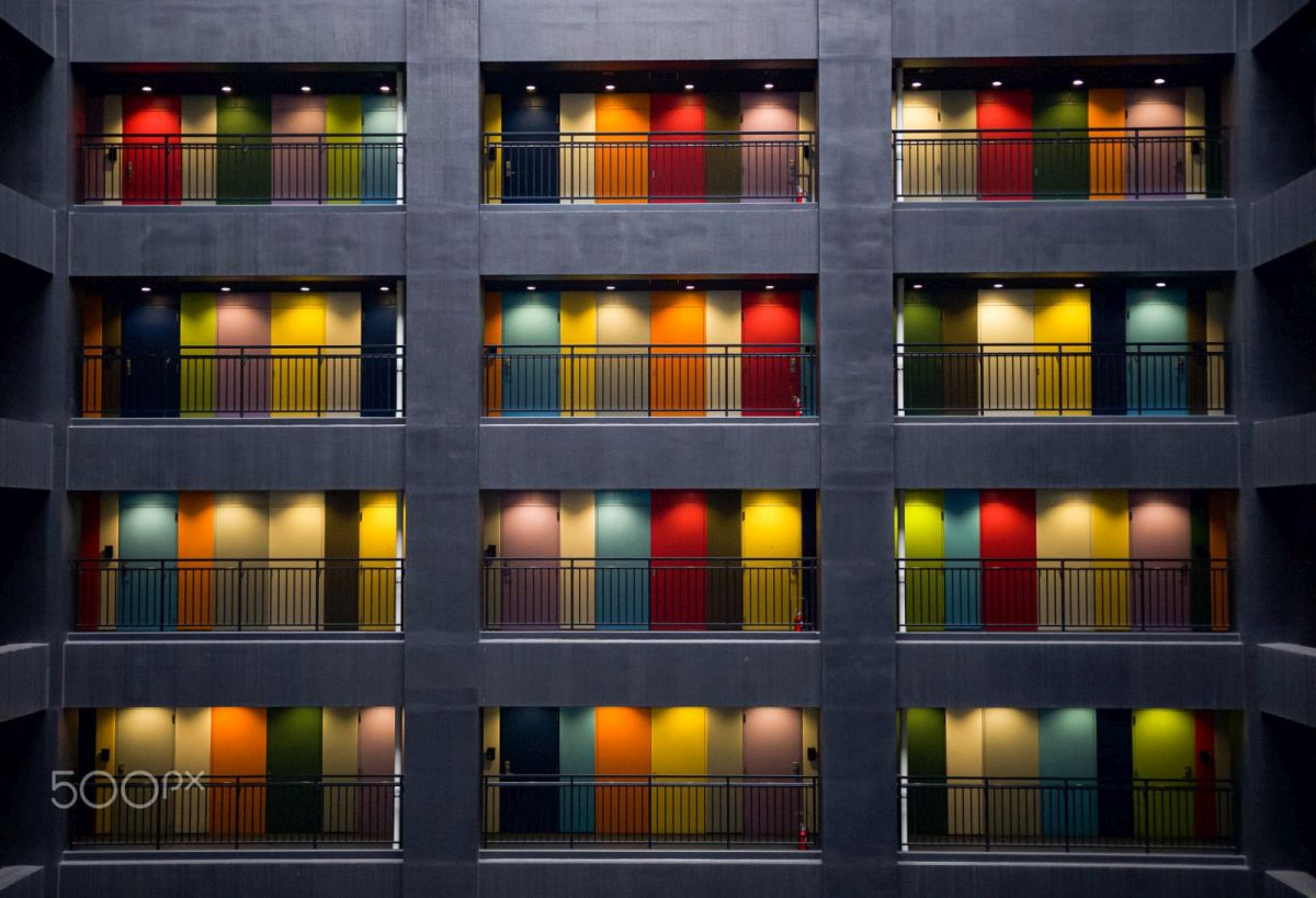 best colourful building photo rainbow doors by adi perets