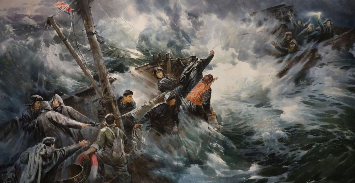 north korean oil painting sea rescue by kim song kun