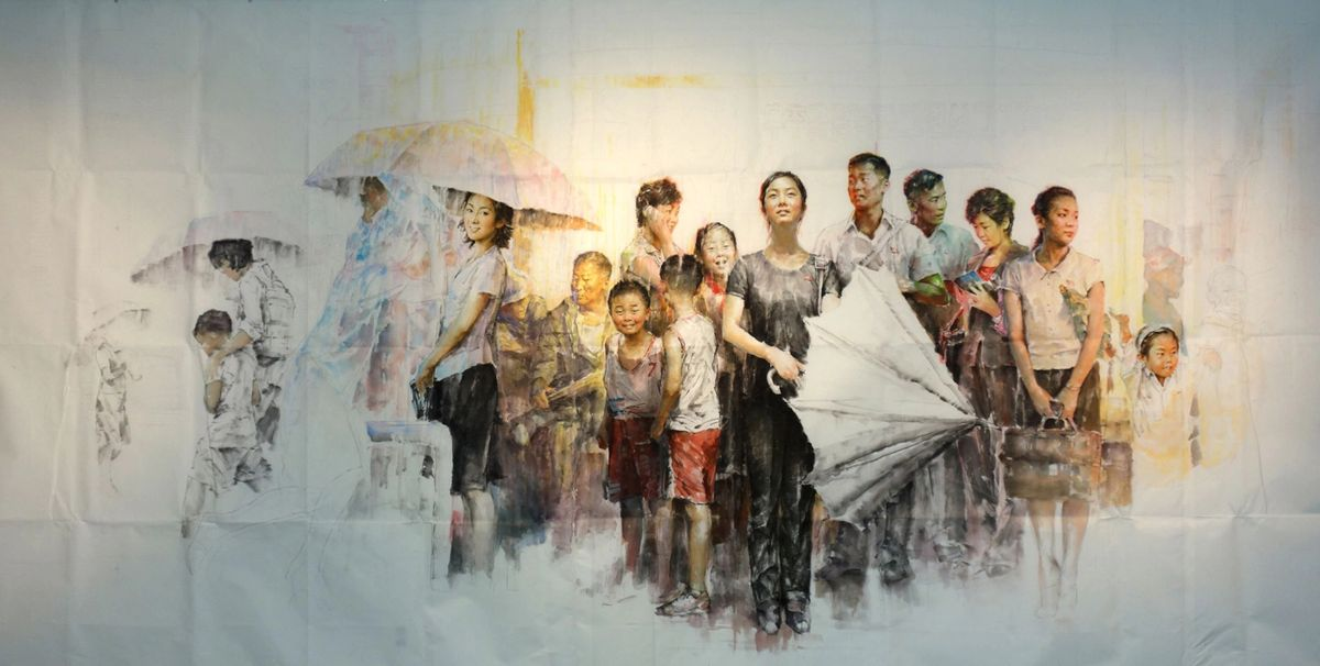 north korean oil painting rain shower by kim sok