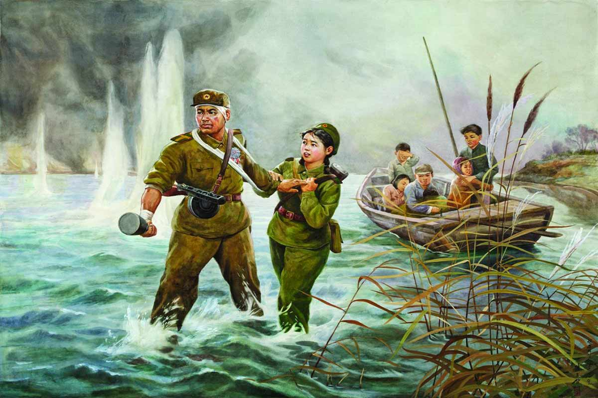 north korean oil painting farewell by pak ryong sam