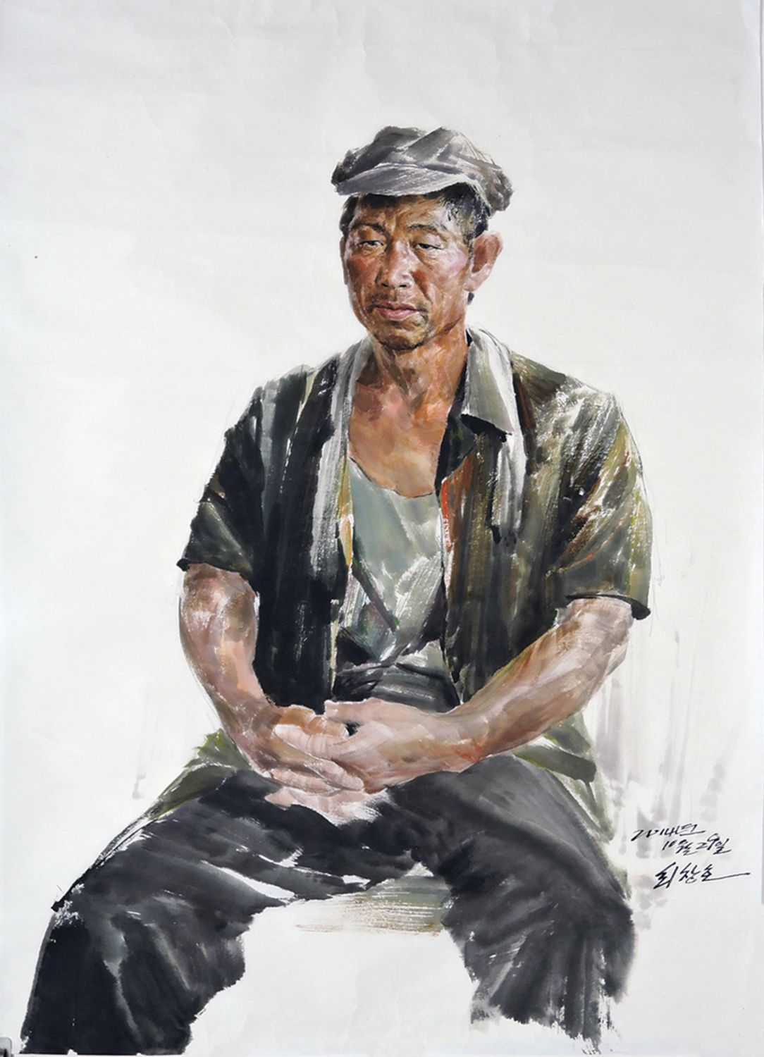 north korean oil painting worker by choe chang ho