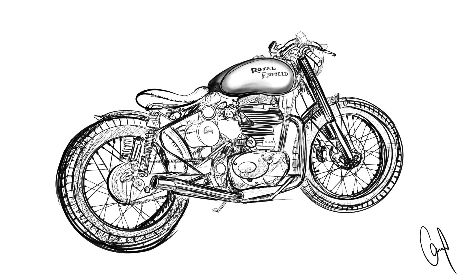 9 royal enfield design contest bobber pencil drawing by giancarlo roselli