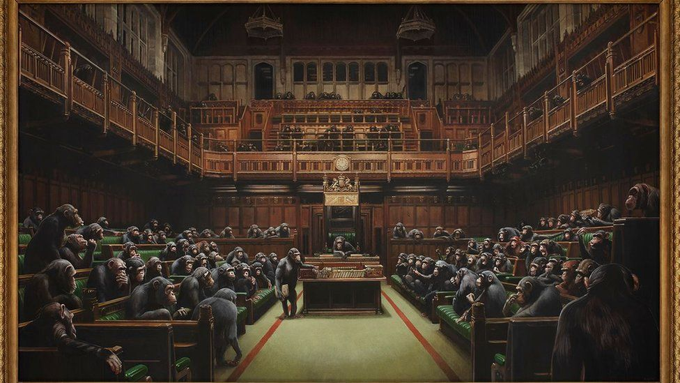 2 banksy painting devolved parliament chimpanzees